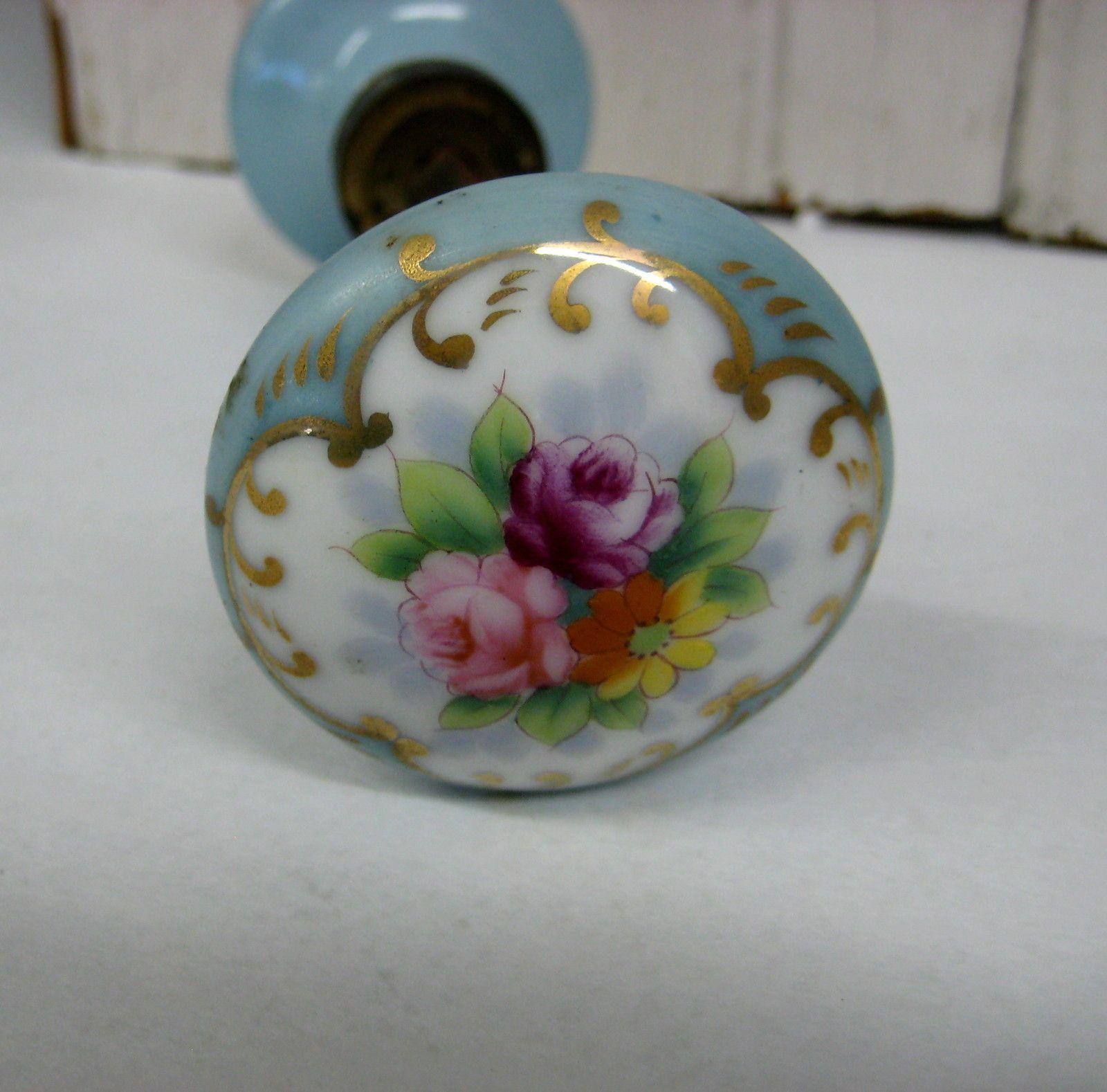 Vintage Ceramic Porcelain Door Knob Set Blue Floral Gilt Design ...