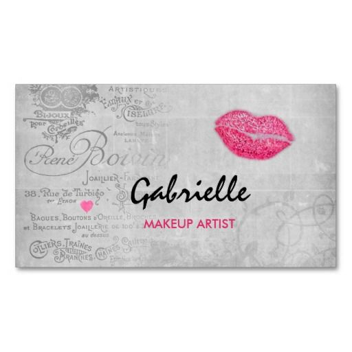 A girly vintage grunge cosmetology business card with a French brocante script writing background on a rustic light grey blackboard embellished with filigree swirls. This stylish design features a hot pink lipstick kiss and a cute little heart. Personalize by adding the name of the professional makeup artist or certified beautician.