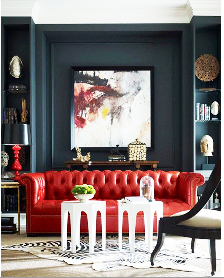 Luxury Living Room Dark Blue Wall With A Stunning Red Chesterfield Sofa Www Bocadolobo Com Contemporarydesign Living Room Decor Interior Design Interior