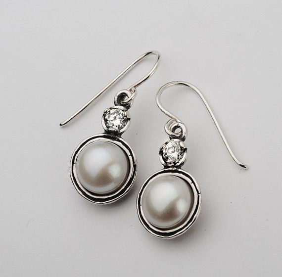 Sterling Silver Round Frame Earrings Combining Fwp 10mm Round Cabs & Clear CZ 4mm Facet Stones