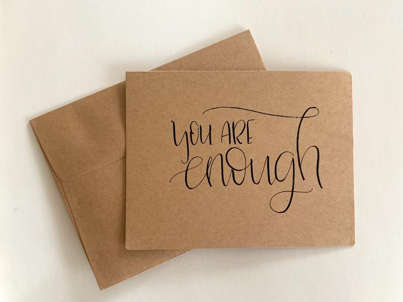 You Are Enough Card Pack Kraft Paper Cards With Envelopes Etsy Paper Cards Pack Of Cards Brown Business Card