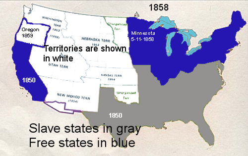 The Map Of The Us Before The Civil War Showing Free States Slave - Us-map-before-civil-war