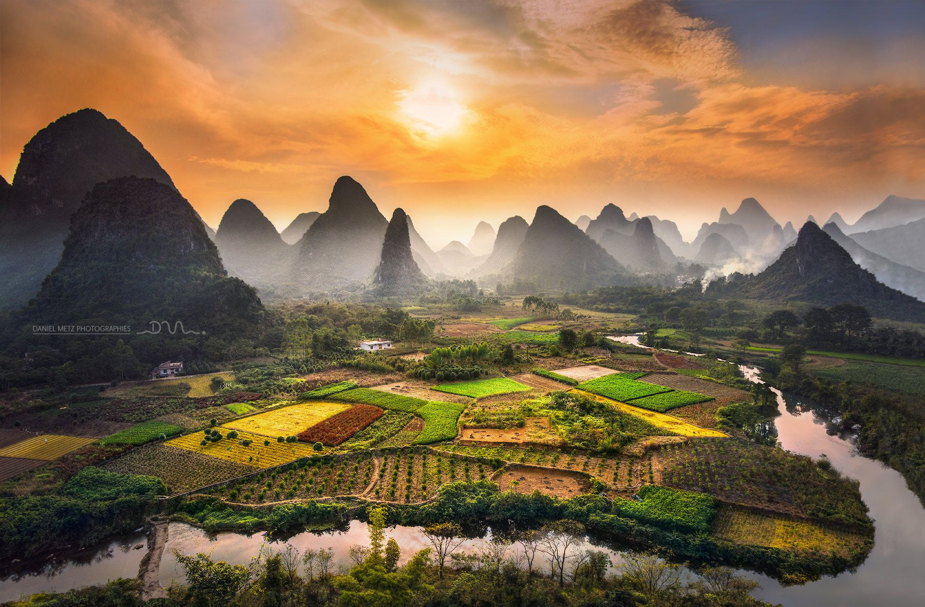 Chinese garden In southern China, near Guilin