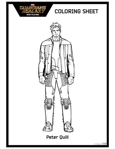 Peter Quill Guardians of The Galaxy Printable Coloring Sheet ...