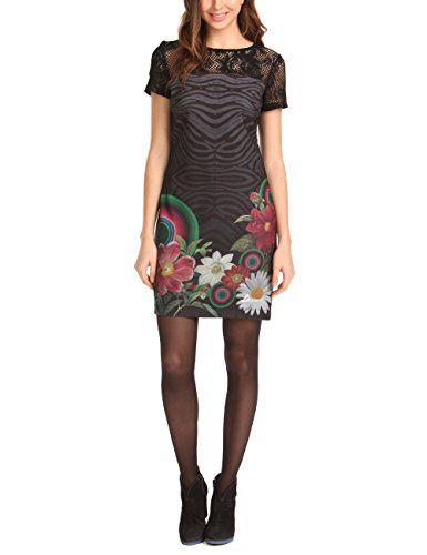Desigual New - Robe - Manches courtes - Femme - Noir (Negro) - FR ... ecdc886f9b78