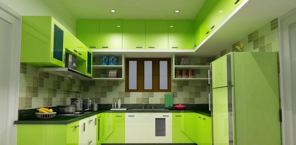 Modern U Shaped Lime Green High Gloss Finish Kitchen Cabinets With Steel Pulls Handle And Black Granite Countertop As Well Beautiful Tiled Backsplash