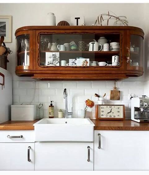 Repurposed Gl Enclosed Cabinet Top Mounted To The Kitchen Wall And Used In Place Of Traditional Cabinetry Via Sf By Bay