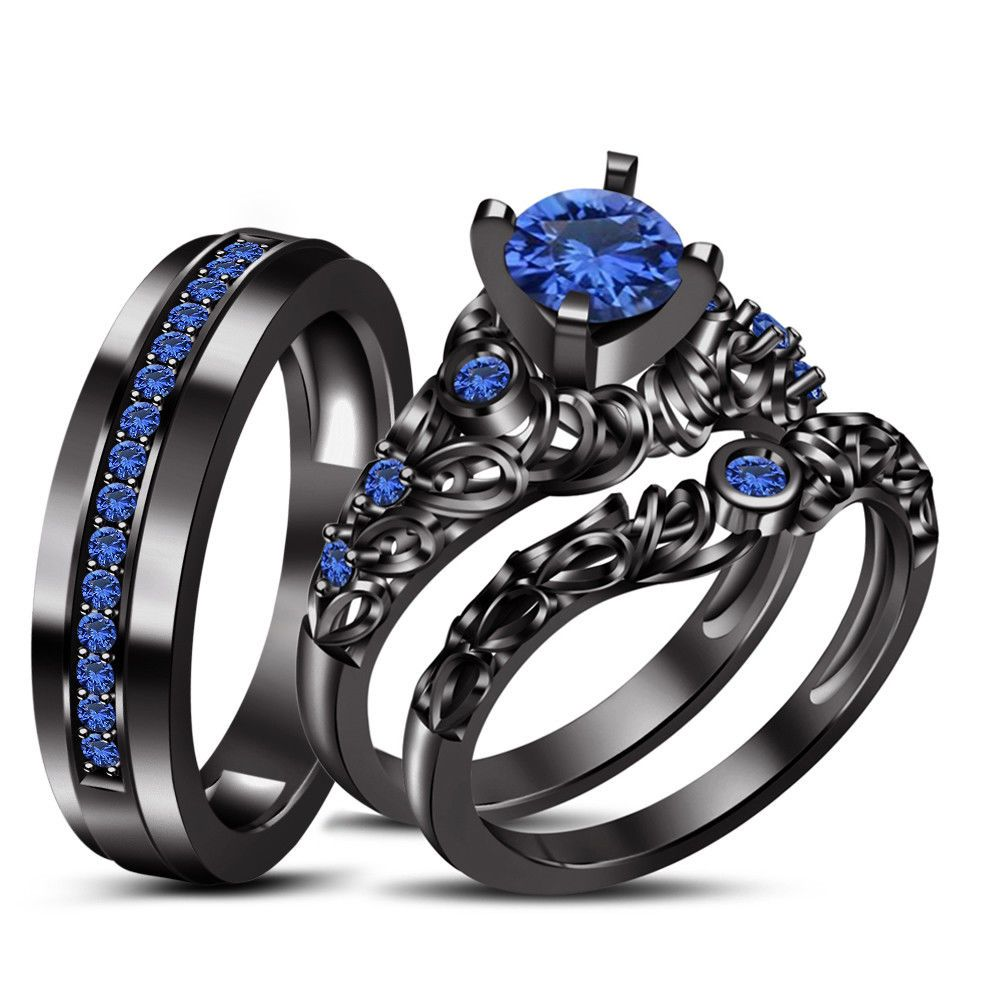 14K Black Gold Over His & Hers Round Blue Sapphire Wedding