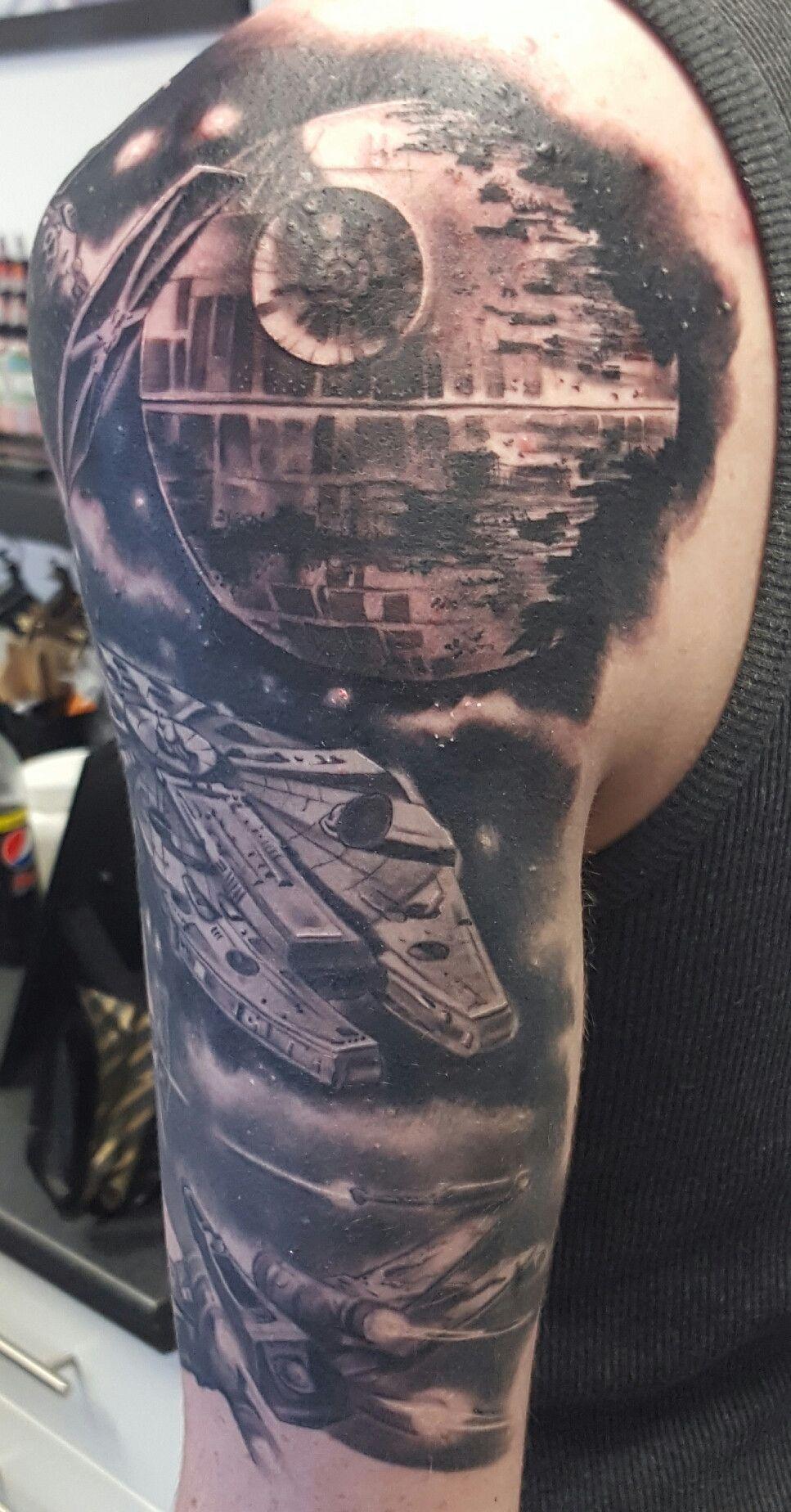 Star Wars Half Sleeve Tattoo : sleeve, tattoo, Sleeve, Kane,, Scribble, Loughton,, /r/tattoos, Tattoo,, Tattoos,, Tattoos