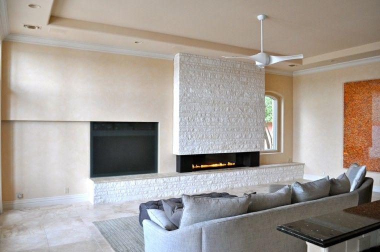diseño chimeneas modernas minimalista salon ventilador Interiores - chimeneas modernas