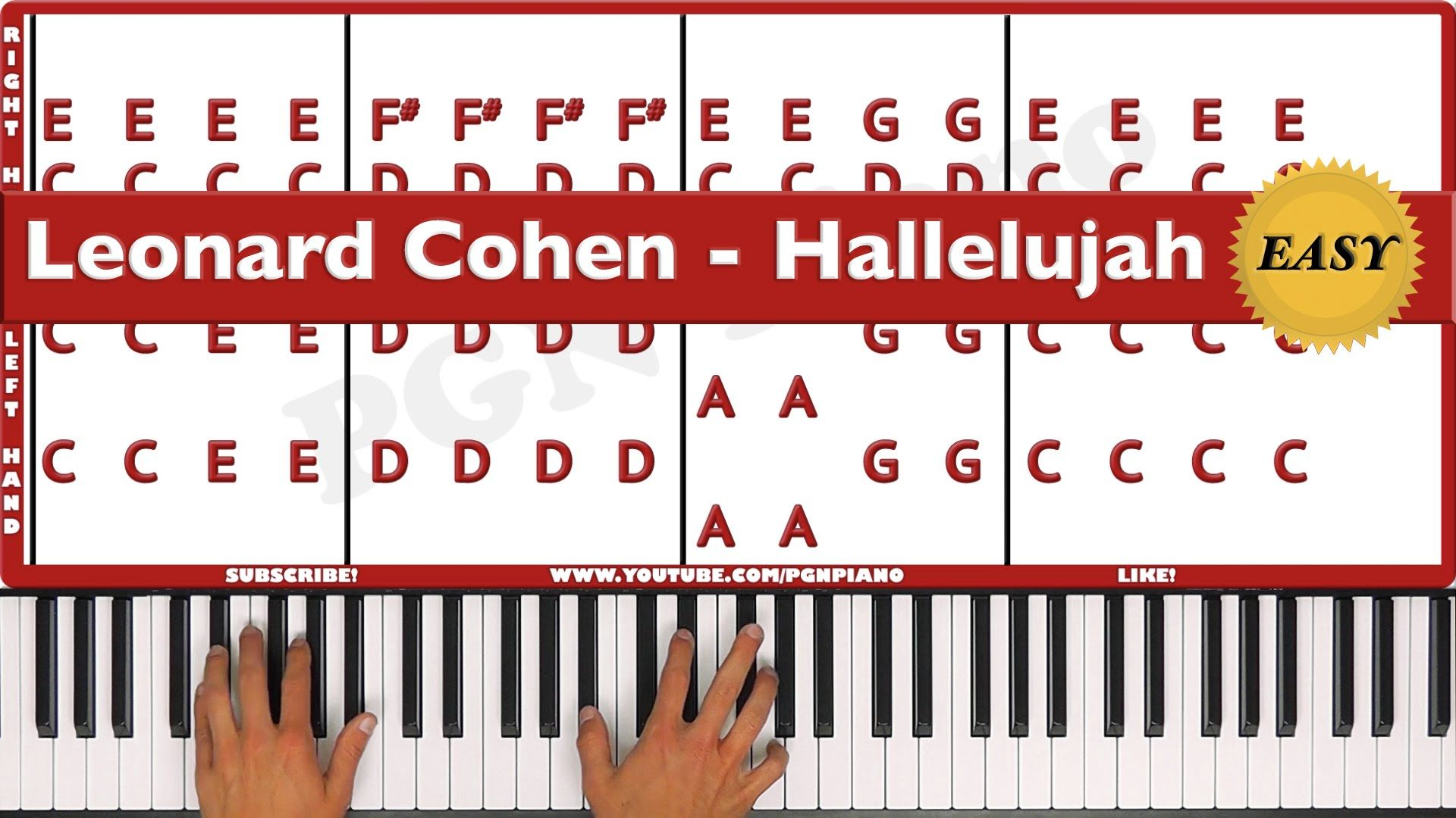♫ EASY - How To Play Hallelujah Leonard Cohen Piano