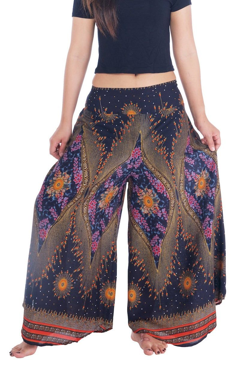 Black Palazzo Trousers Yoga Pants Paisley Trousers Hippie Pants
