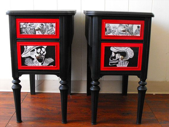 His and Hers Vintage Night Stand Set Day of the by dnacreations, $145.00  For Johanna