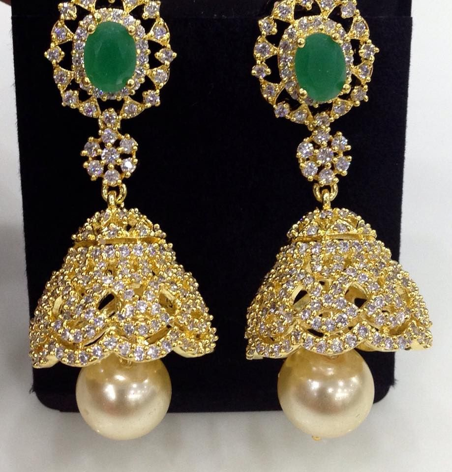 long CZ and green stones jhumkas with pearl drop Size 2