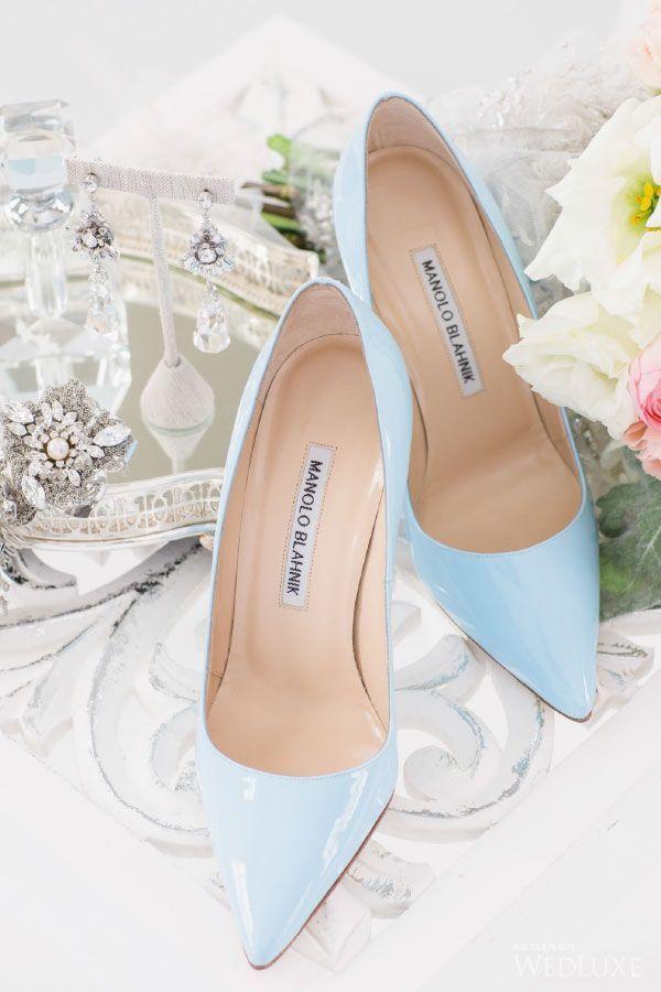 Light blue Manolo Blahnik bridal shoes