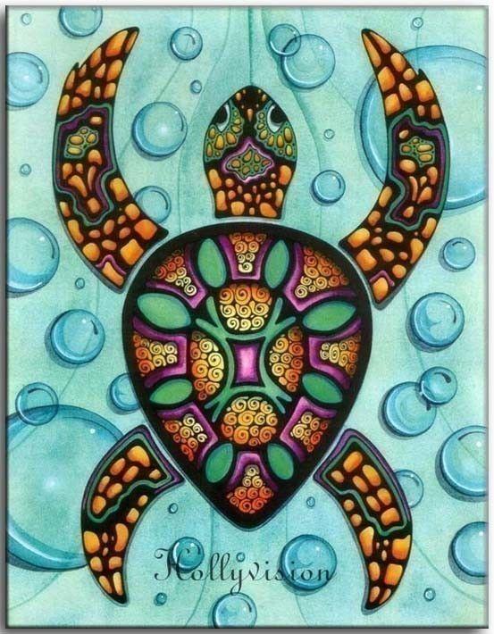 Abstract Sea Turtle Aumakua Turtles Sea Turtle Art Beach Art