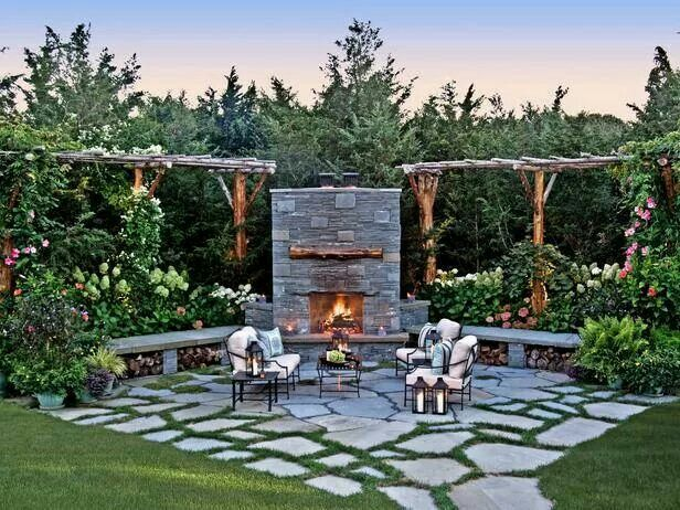 Fireside Retreat On Its Own Irregular Bluestone Patio, This Intimate  Outdoor Space Features A Custom Masonry Fireplace, Lush Plantings, Rustic  Wood Pergolas ...