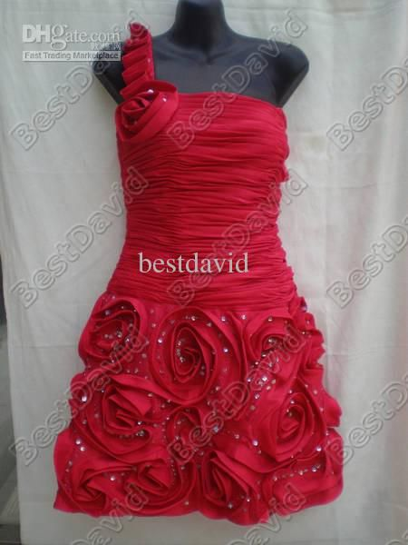 One-Shoulder Dress Beads Prom Dress A77221 short Cocktail Dresses Taffeta A-Line Rosettes / Flowers
