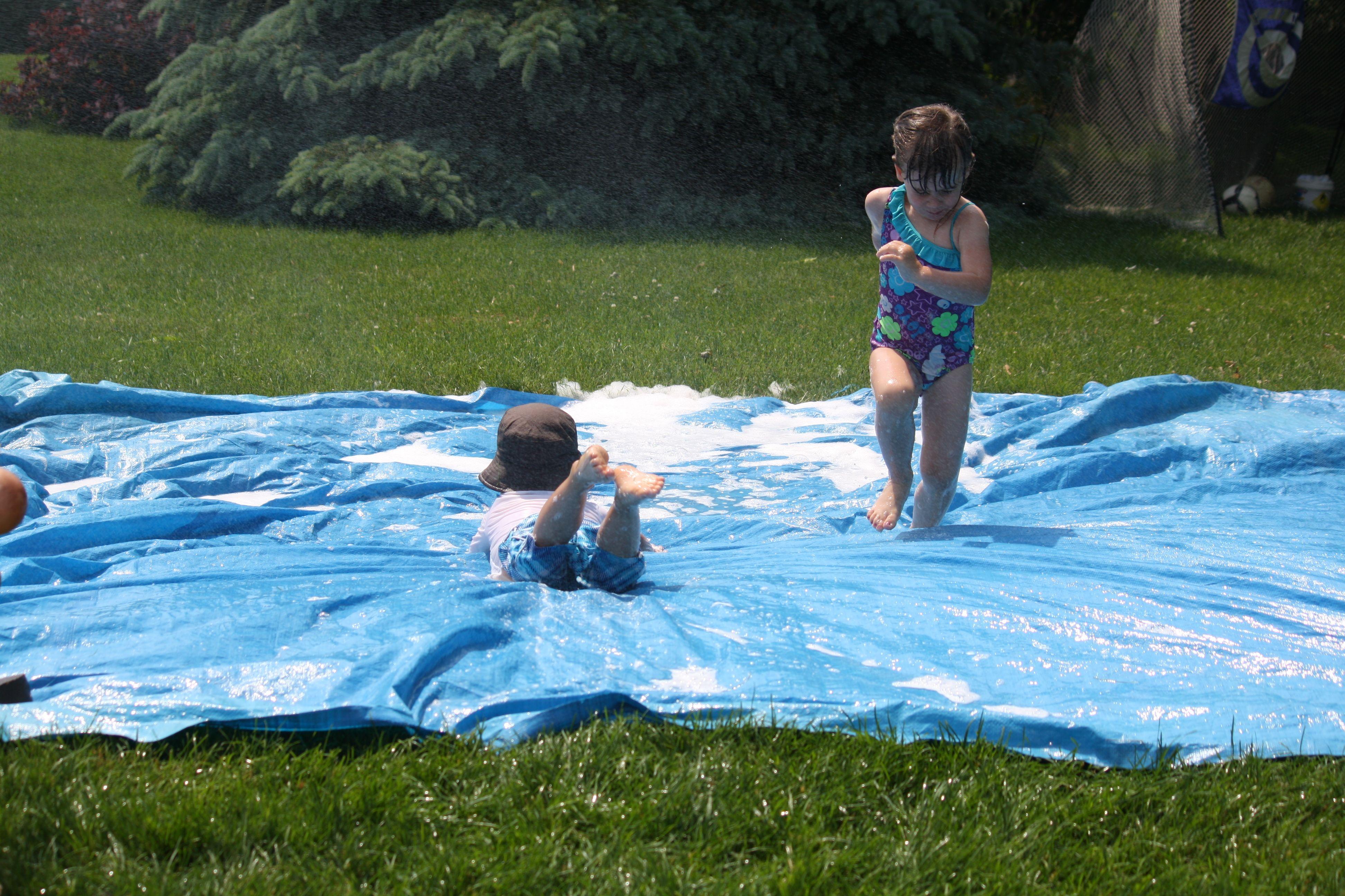 easiest homemade water-slide for the backyard | games | pinterest