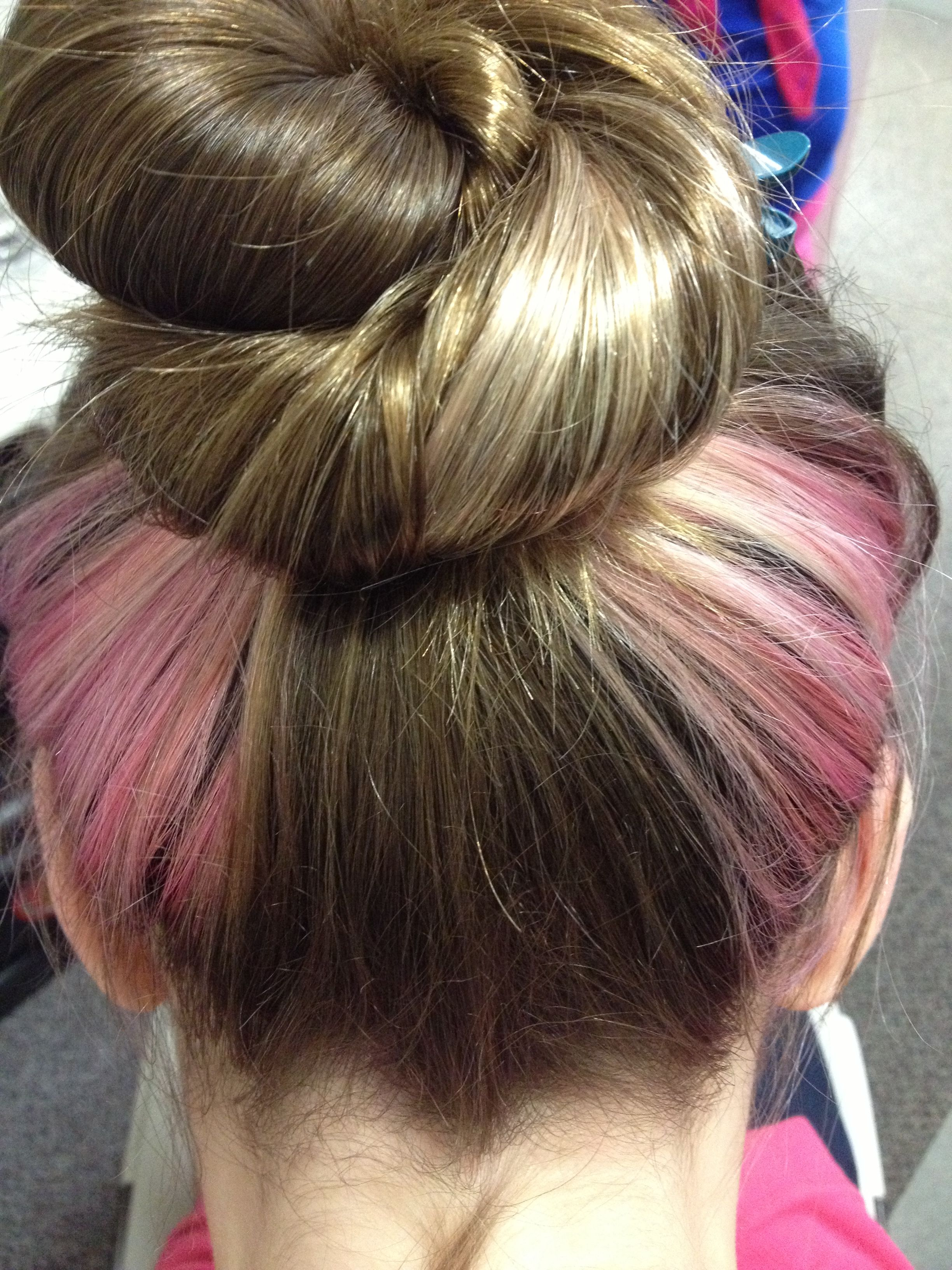 pink sequins Exquisite hair knot bar brown highlights