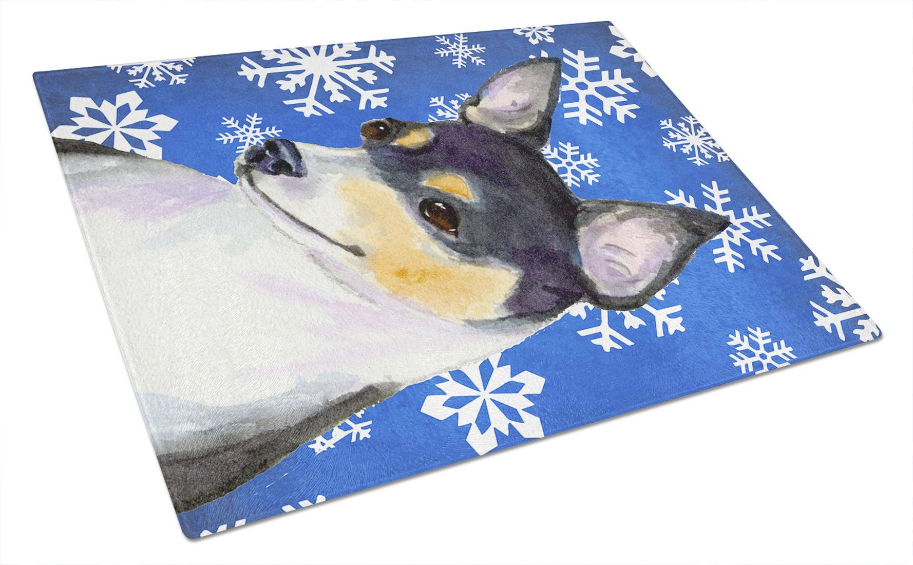 Chihuahua Winter Snowflakes Holiday Glass Cutting Board Large