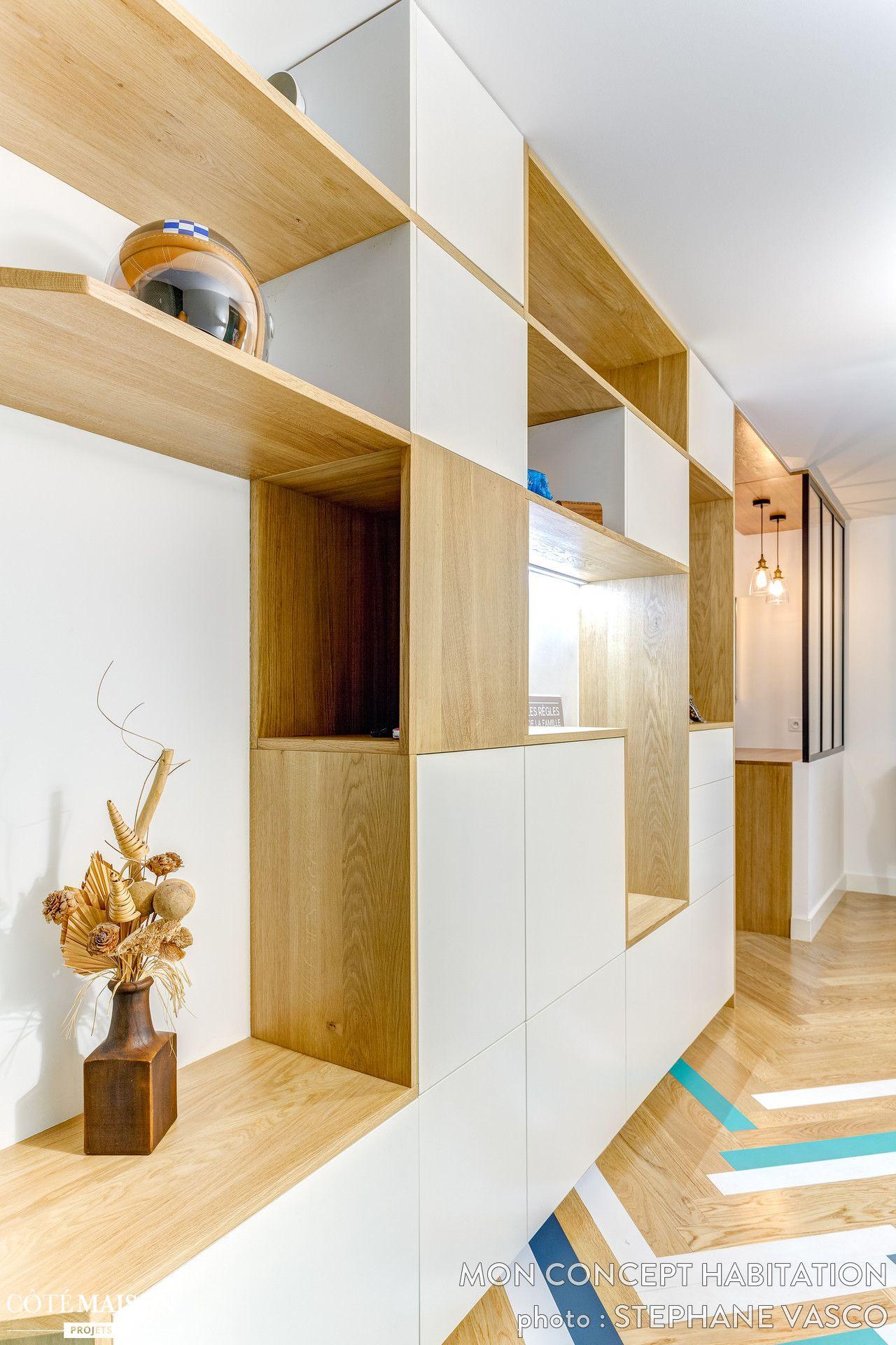 Renovation Epuree Sur L Ile De La Jatte Ma Petite Decoration Et Atelier 54 Mon Concept Habitation Cote Maiso Meuble Salle A Manger Rangement Sejour Maison