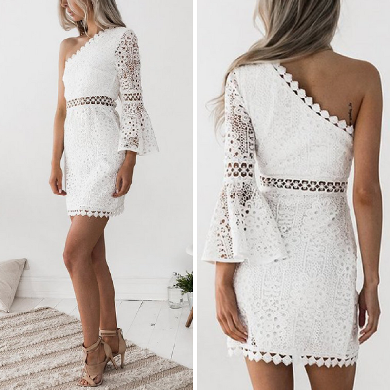 31 95 Little White One Shoulder Bell Sleeve Lace Dress By Yoins Lace Fabrication In A Bodycon Silhouette Winter Outfits Dressy Lace Dress With Sleeves Dresses