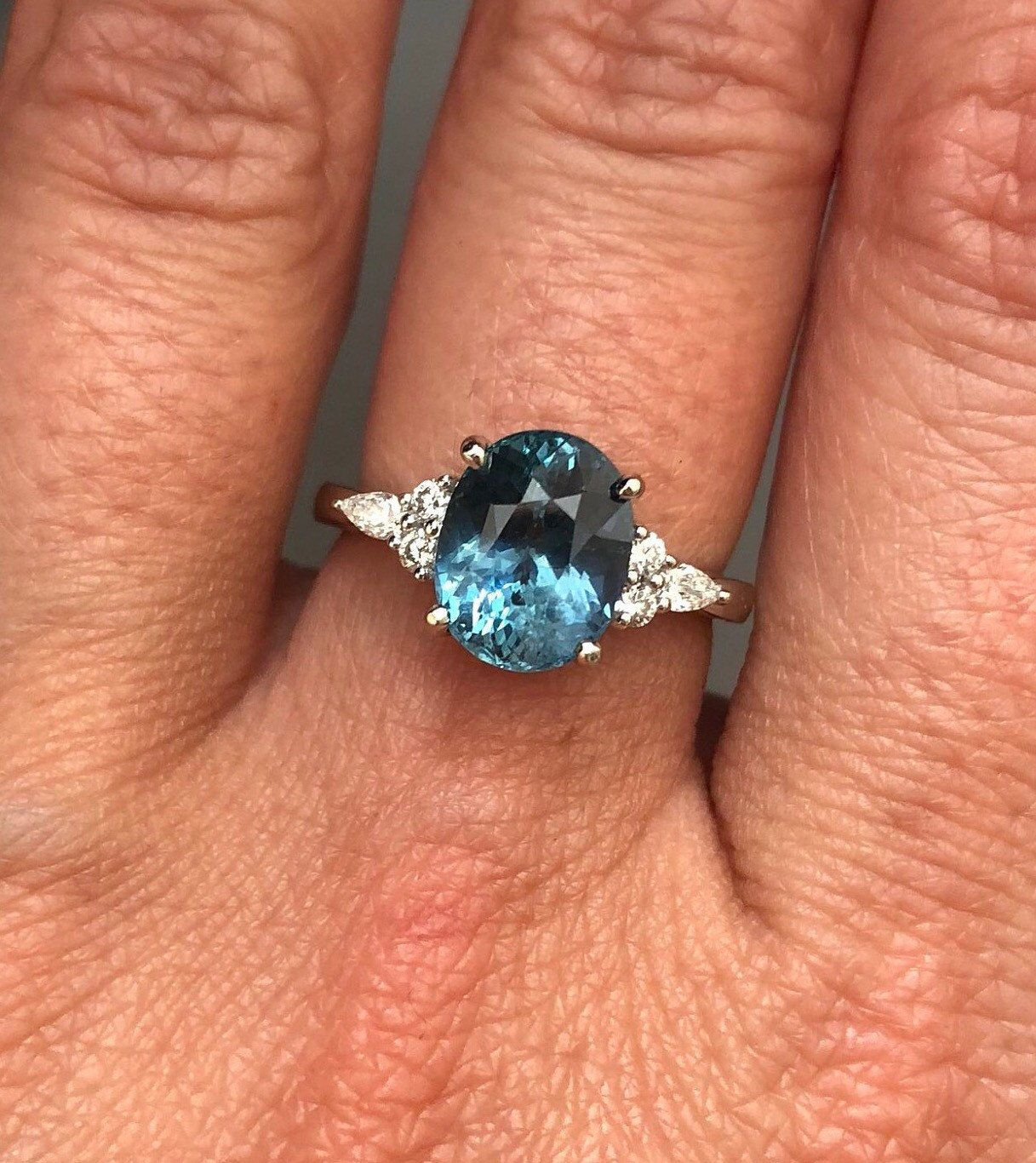 Teal sapphire engagement ring. Peacock green sapphire 3
