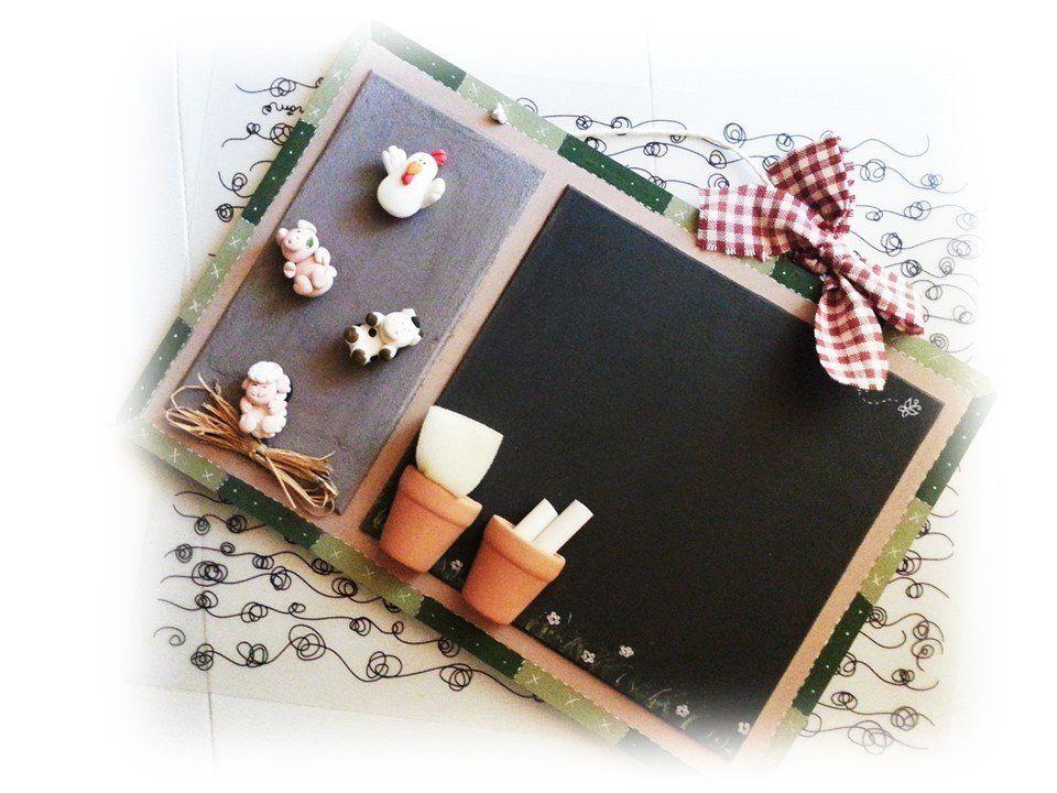 Lavagna magnetica gessetti country animali della fattoria accessori e decorazioni cucina fimo - Lavagna magnetica da cucina ...