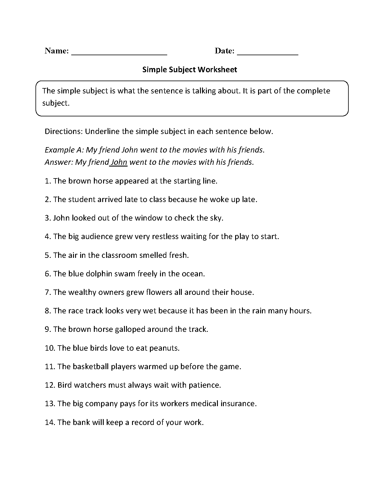 Simple Subject Worksheet