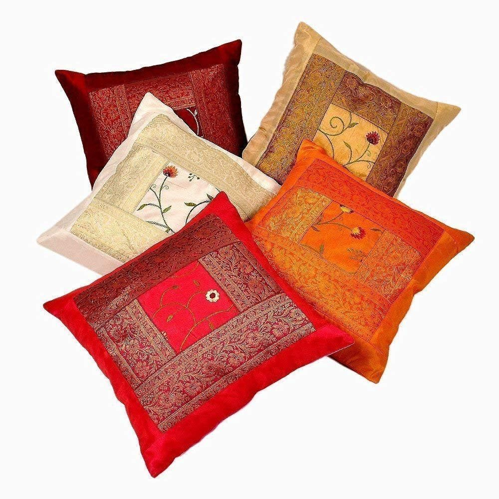 Cotton Embroidered Pillow Case Cover Indian Mirror Throw Cushion Cover 5 Pcs Set