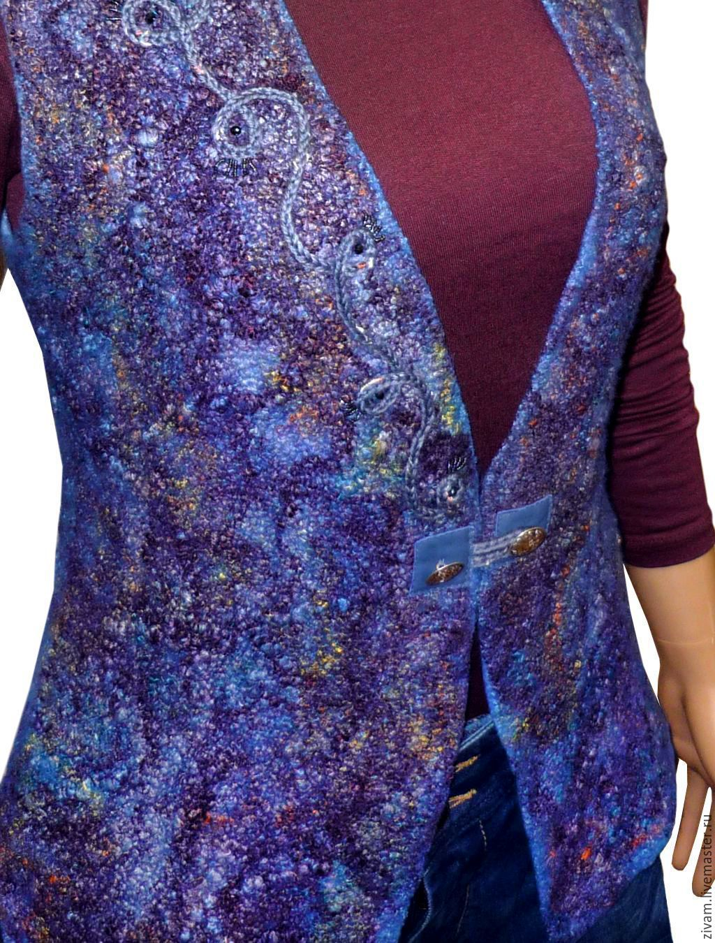 """Купить Двусторонний валяный жилет """"В ожидании чуда..."""" - синий, абстрактный, многоцветный"""