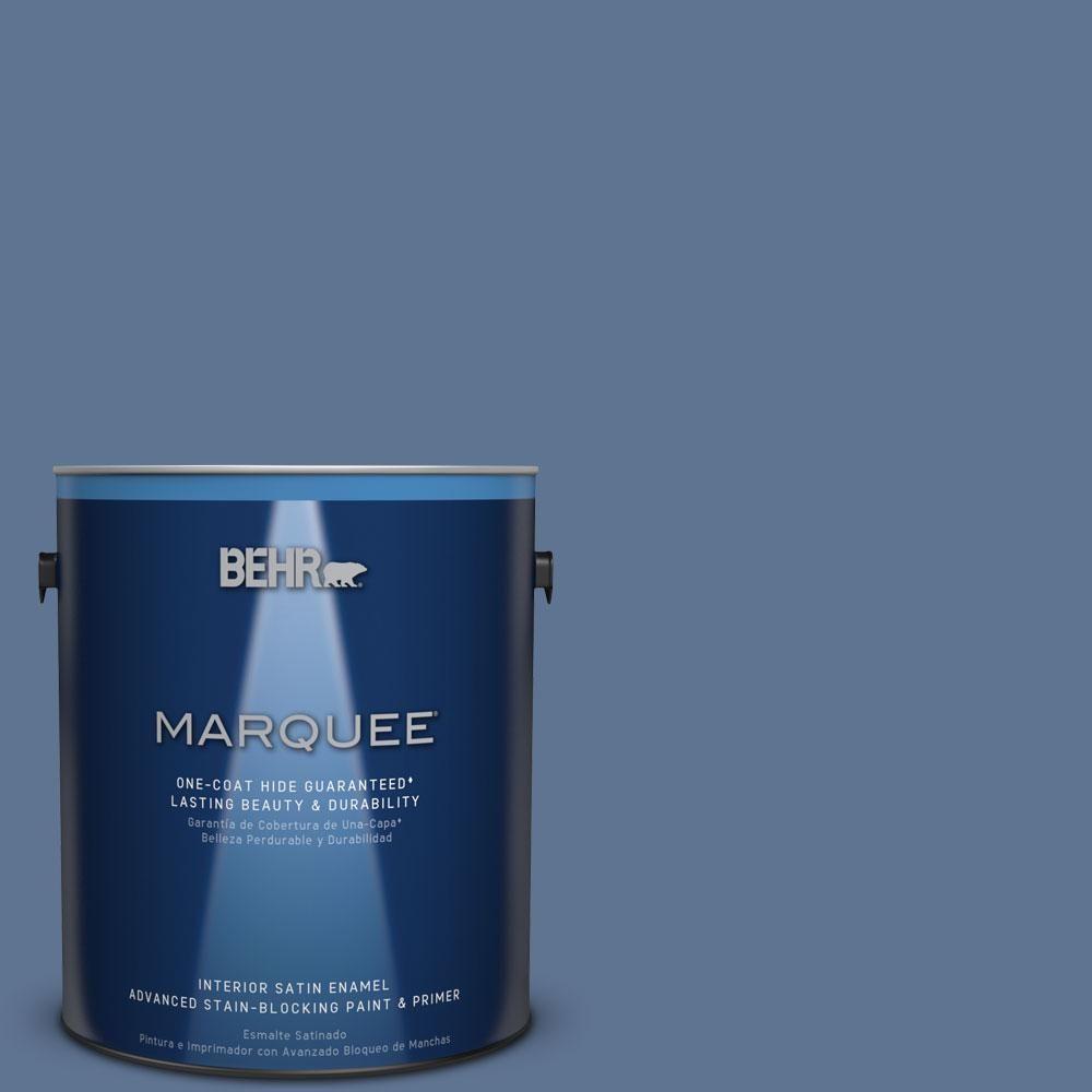 BEHR MARQUEE 1 Gal. #PPU14 18 Laguna Blue One Coat Hide Satin Enamel Interior  Paint 745301   The Home Depot