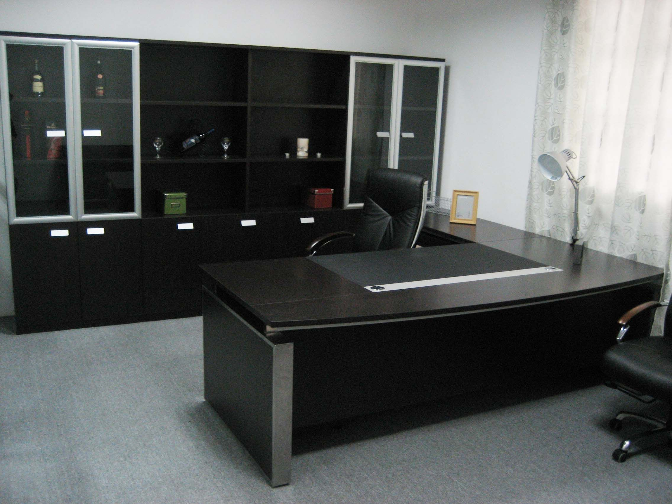 Remarkable Dark Modern Table And Cabinets In Executive Office Desk Furniture Design Ideas
