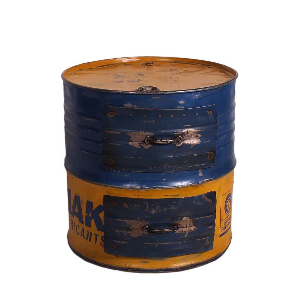 Design Beistelltisch als Metalltonne Blau Gelb Jetzt bestellen unter ...