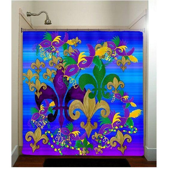 Psycadelic Mardi Gras Fleur De Lis Art Shower Curtain By Maremade 6900