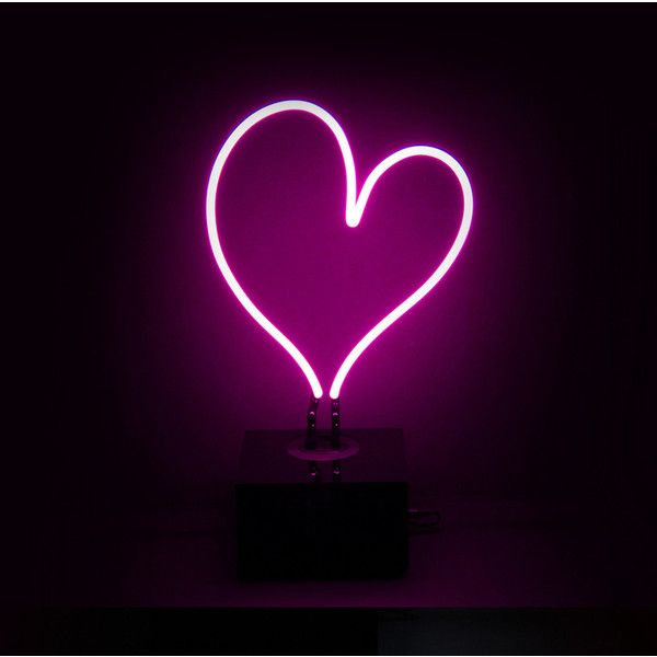 Desktop Neon Light Heart ($100) ❤ liked on Polyvore featuring home, home decor, office accessories, neon signs, heart sign and handmade signs