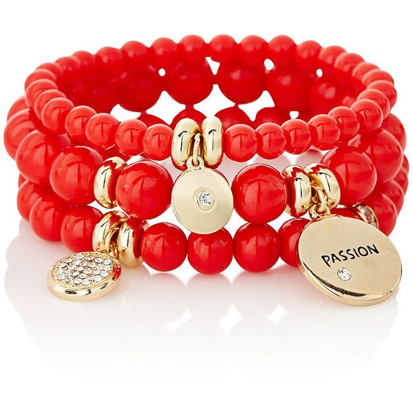 The Limited Hue You Are Bracelets Red (£28) ❤ liked on Polyvore featuring jewelry, bracelets, accessories, red, orange, red bead jewelry, bead charms, red jewelry, red bangles and red charms