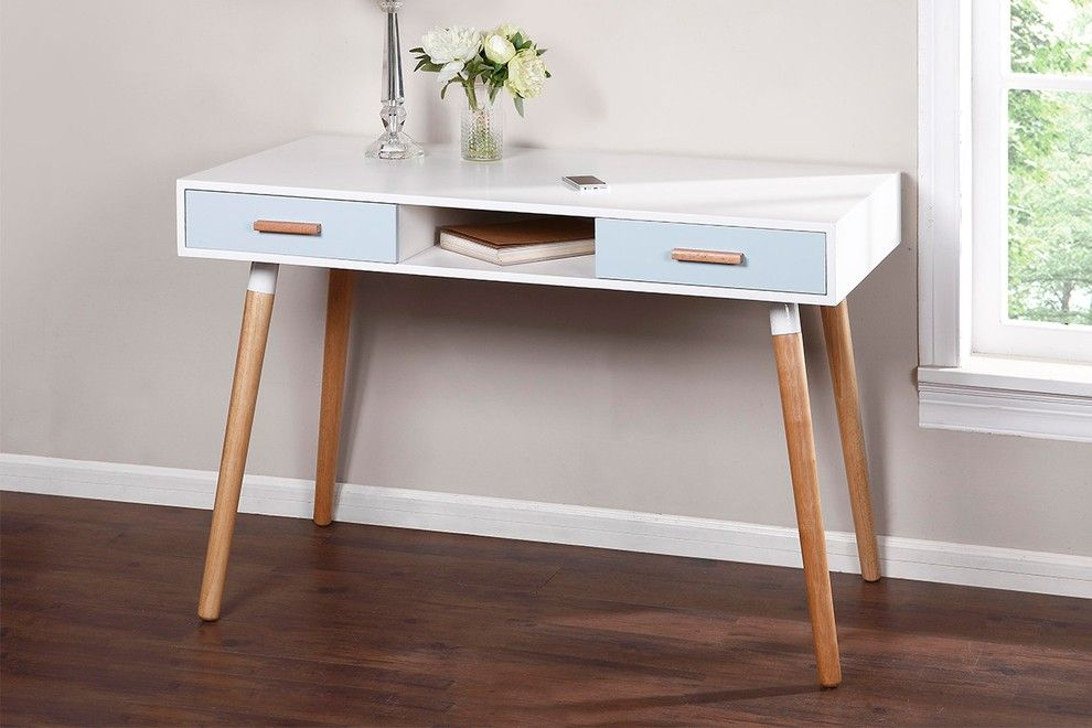 Ovela Scandinavian Style Study Desk With Light Blue Drawers 120 X 60cm Blue Drawers Desk Study Desk