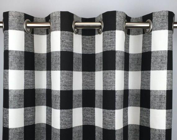 Black Buffalo Check Curtains Free Shipping Black Gingham Drapes