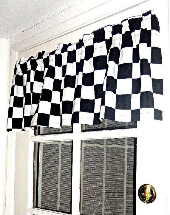 Disney Pixar Black White Checkered Checks Valence Cars By Petiteleon Cars Room Home Decor New Room