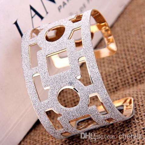 Hot Fashion Geometry Hollow Out Large Size Bangles Opening Pattern Gold Shiny Jewelry Cuff Bracelets 1213