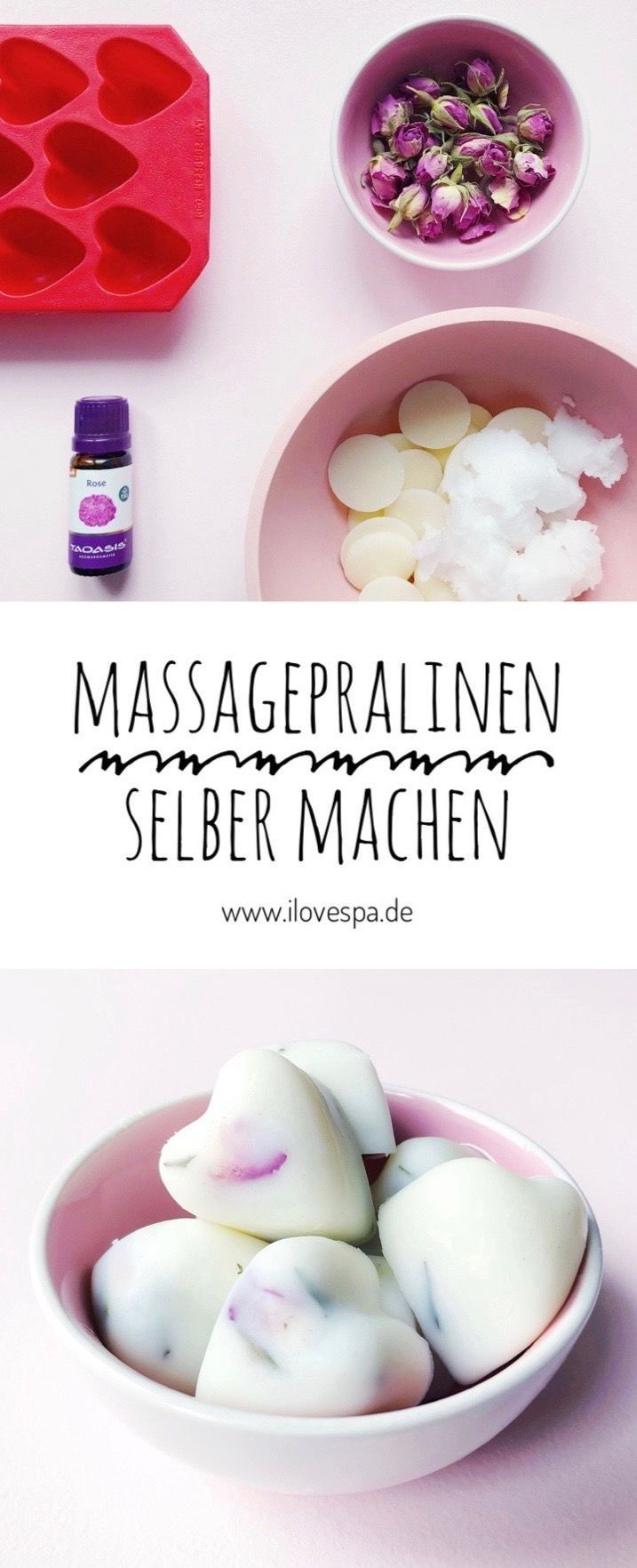Massagepralinen selber machen aus 4 Zutaten - Valentinstag & Muttertag