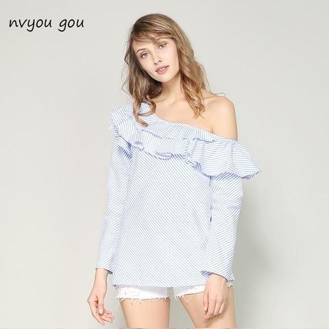 1c7e1861ebd80 Shirt Blouses · Women s Plus Sizes · Curvy Women · nvyou gou Women Blouse  Summer 2018 Sexy One Shoulder Casual Blue Striped Long Sleeve Shirt Plus