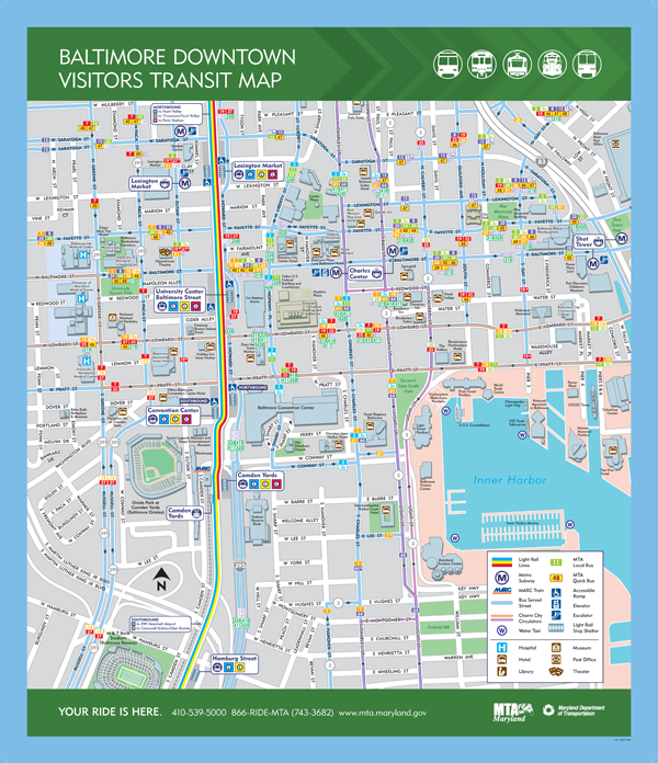Baltimore Transit Maps Downtown a few Neighborhood areas