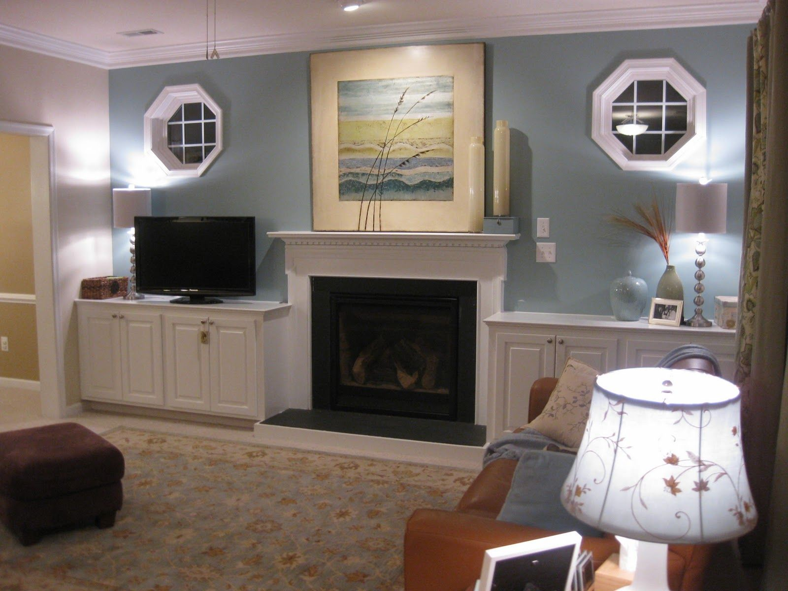 I Love The Color Of The Wall Fireplace Cabinets On Each Side The