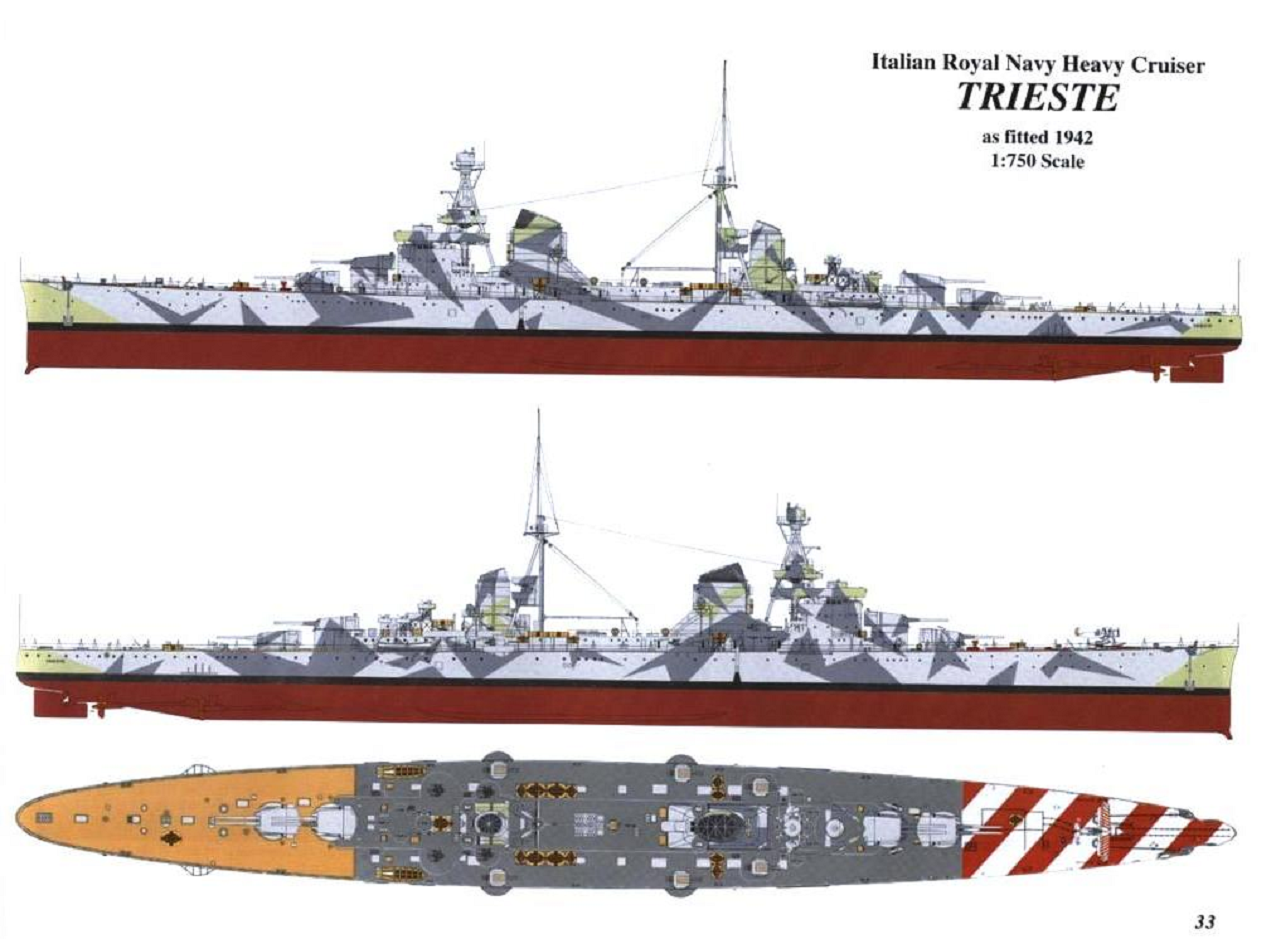 Wwii italy navy battleship roma 1943 plastic model images list - Rmn Italian Heavy Cruiser Trieste 1942