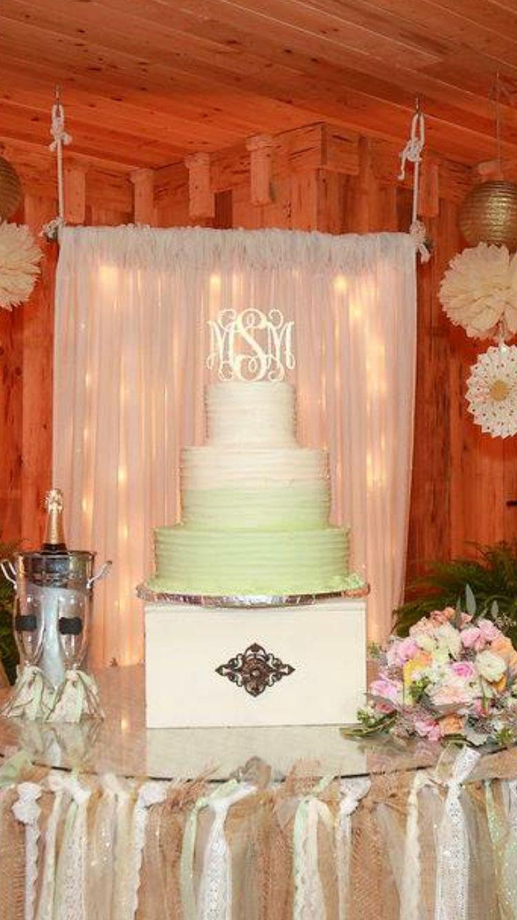 Beautiful wedding cake!  Cake topper is from Inscribed Monograms. https://www.etsy.com/shop/inscribedmonograms?ref=hdr_shop_menu