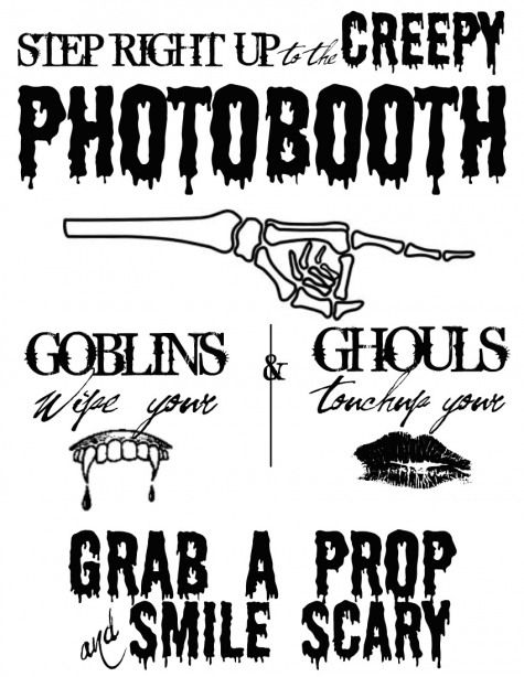 photograph about Free Printable Photo Booth Sign identify Free of charge Halloween Printable Photobooth Indication SeeCateCreates
