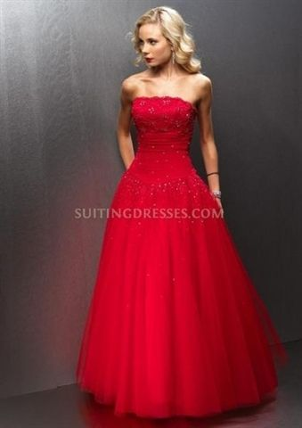 Picture of Red Chiffon Soft Net Beaded Lace Strapless Ruched Ball Gown